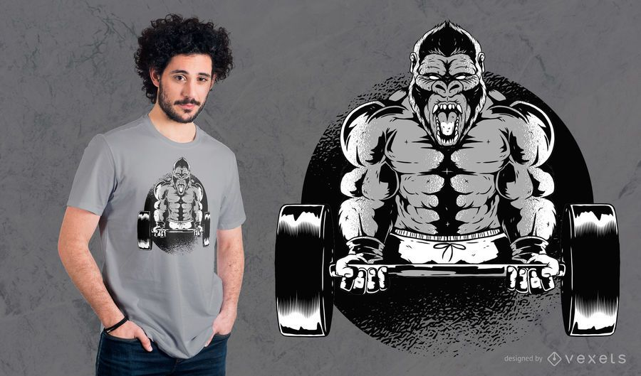 Gorilla Dumbbell T-Shirt Design