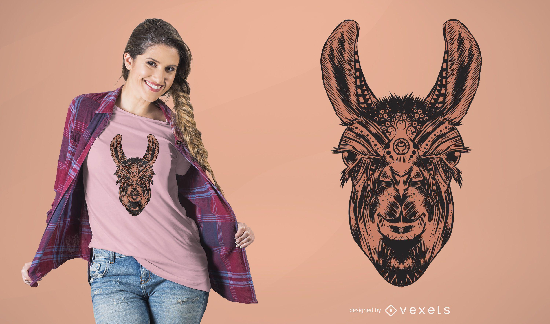 Diseño de camiseta Mandala Llama