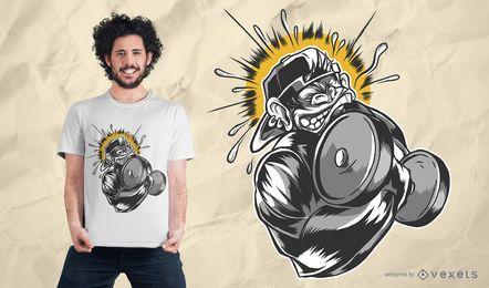 Design de camiseta com halteres de macaco