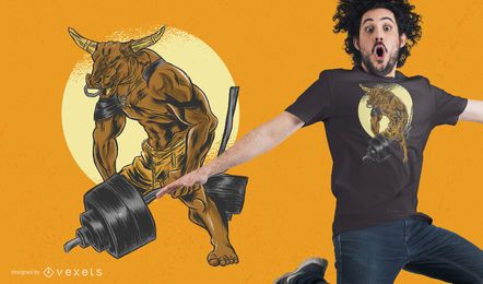 Minotaur Dumbbell T-Shirt Design