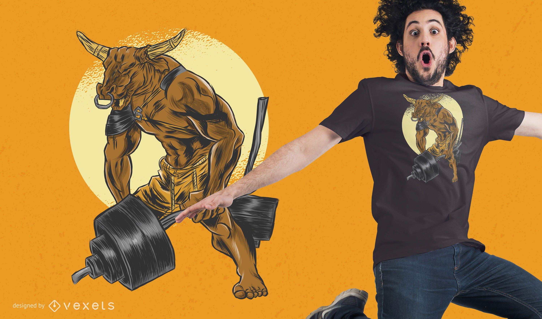 Minotaur Dumbbell T-Shirt Design