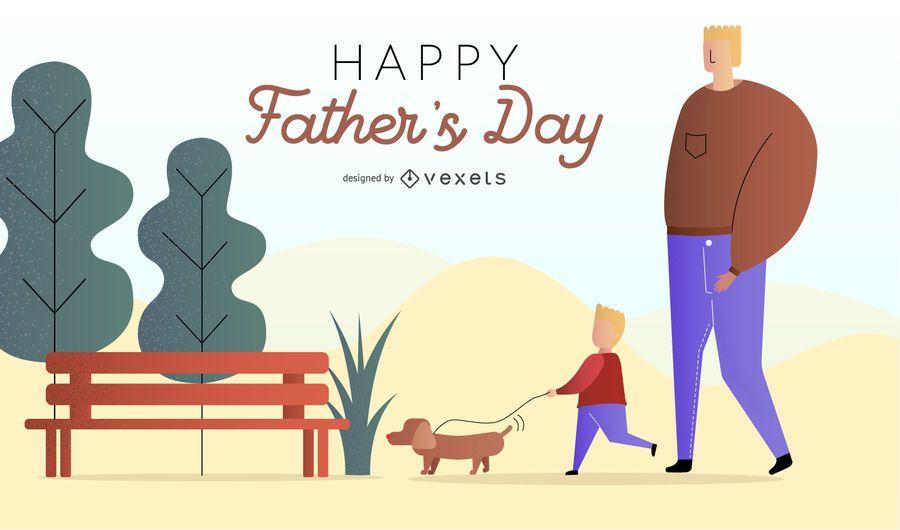 Feliz dia dos pais saudação ilustração
