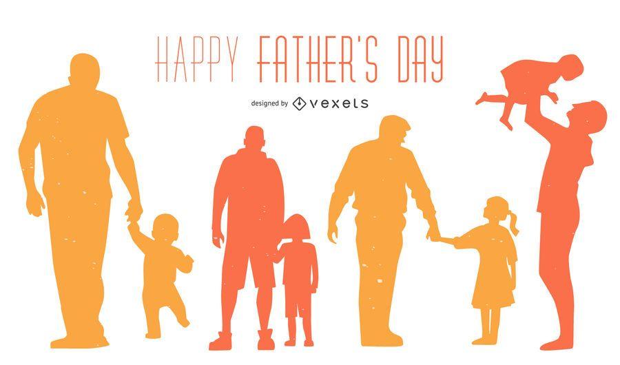 Feliz dia dos pais silhueta