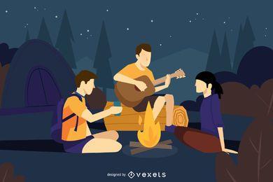 Amigos acampar ilustração