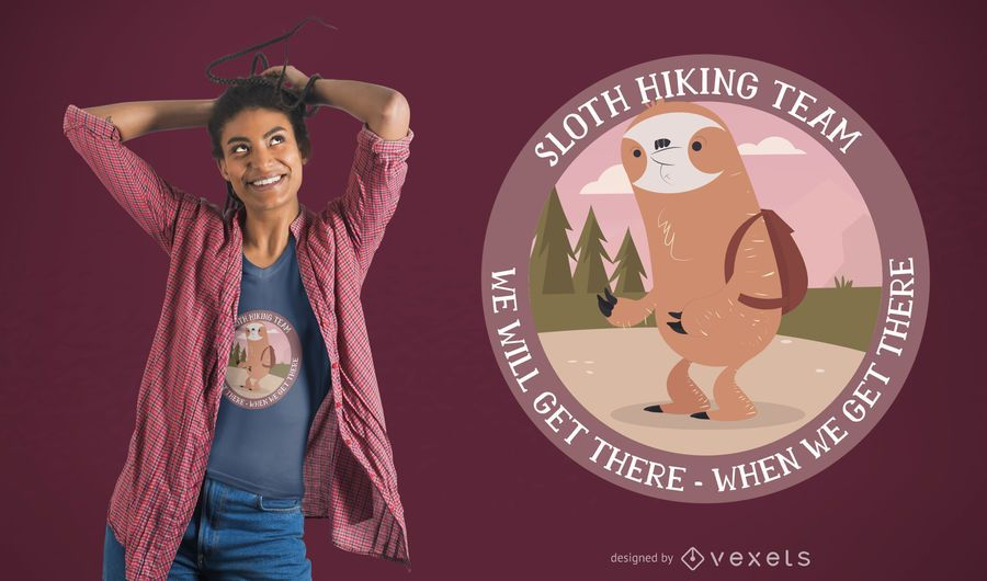 Hiking Sloth T-Shirt Design