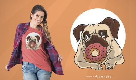 Diseño de camiseta de perro con rosquilla