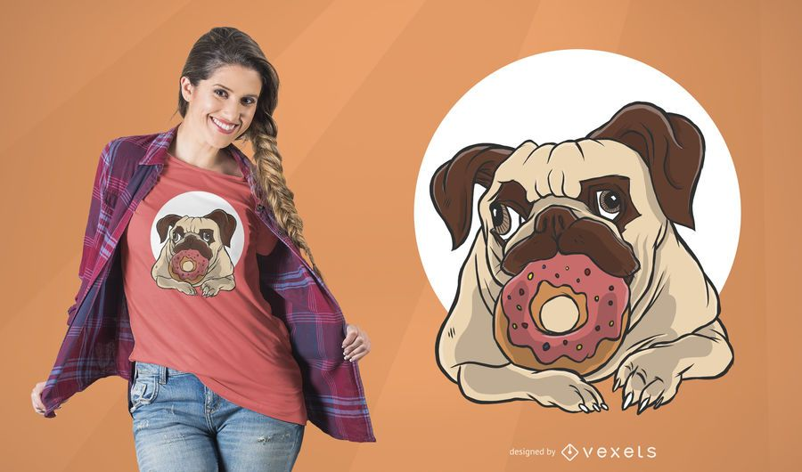 Dog with Donut T-Shirt Design