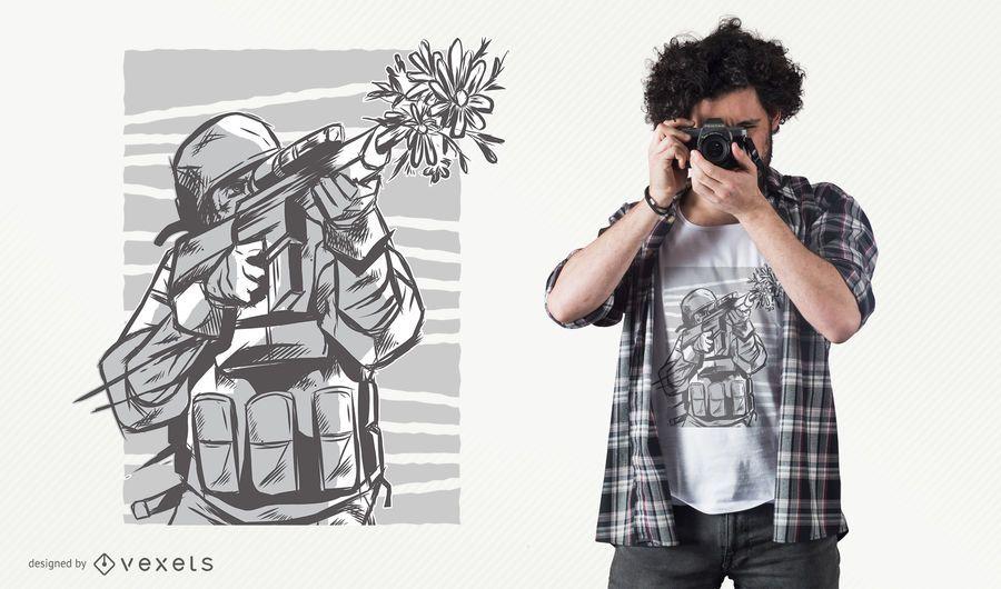 Blumen-Gewehr-T-Shirt Design