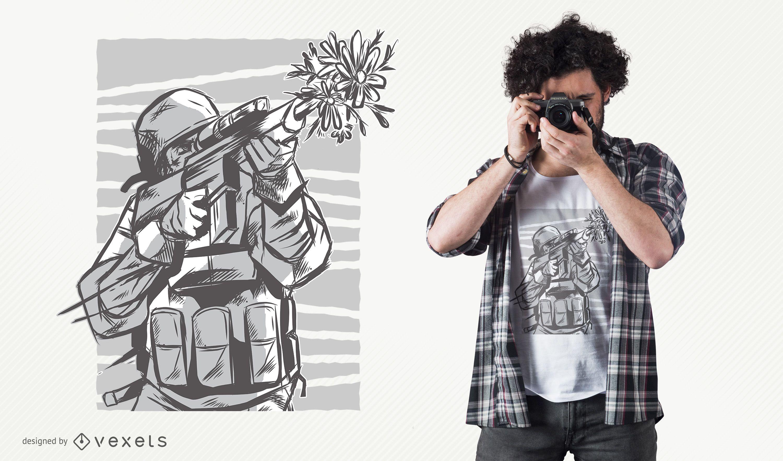 Diseño de camiseta de pistola de flores