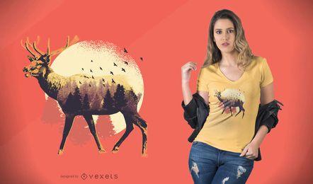 Diseño de camiseta de alce