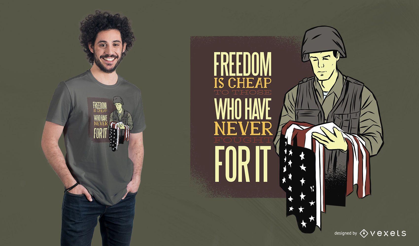 Diseño de camiseta de cita de soldado