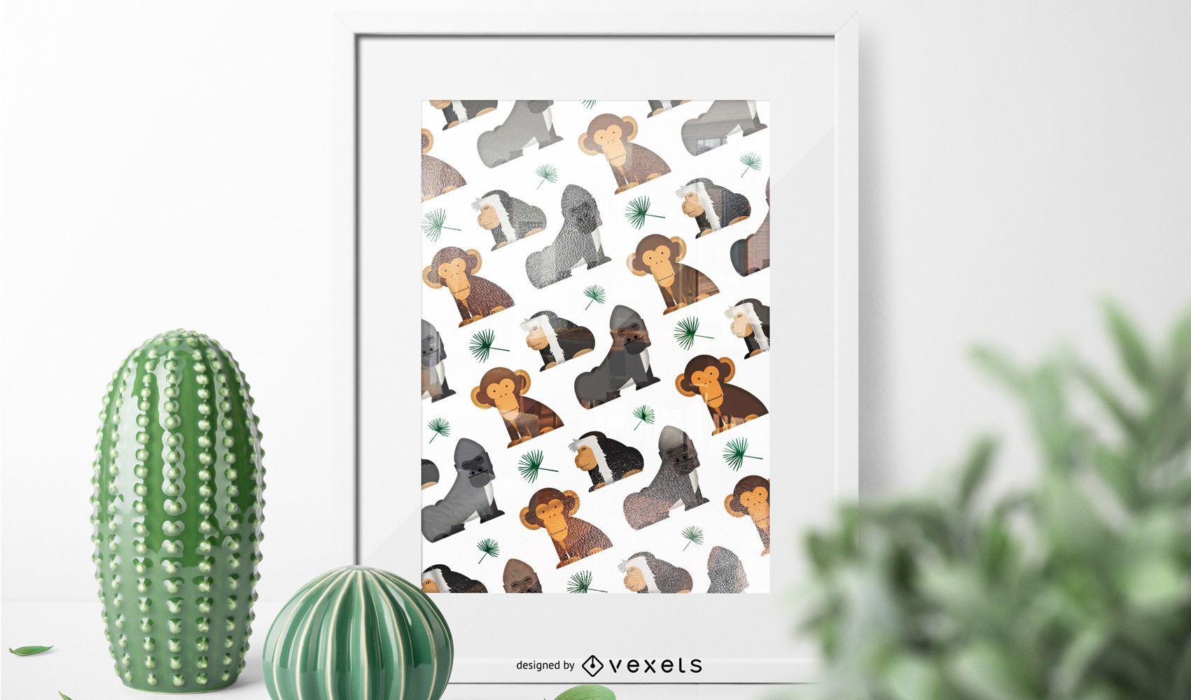 Patrón de mono africano