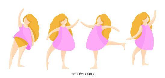 Conjunto de ilustración de bailarina