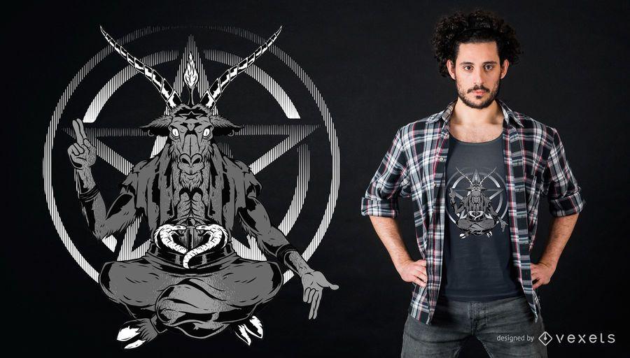 Diseño de camiseta de cabra satánica