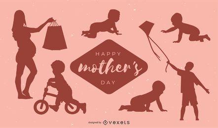 Diseño de silueta de feliz día de la madre