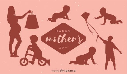 Diseño feliz de la silueta del día de madre
