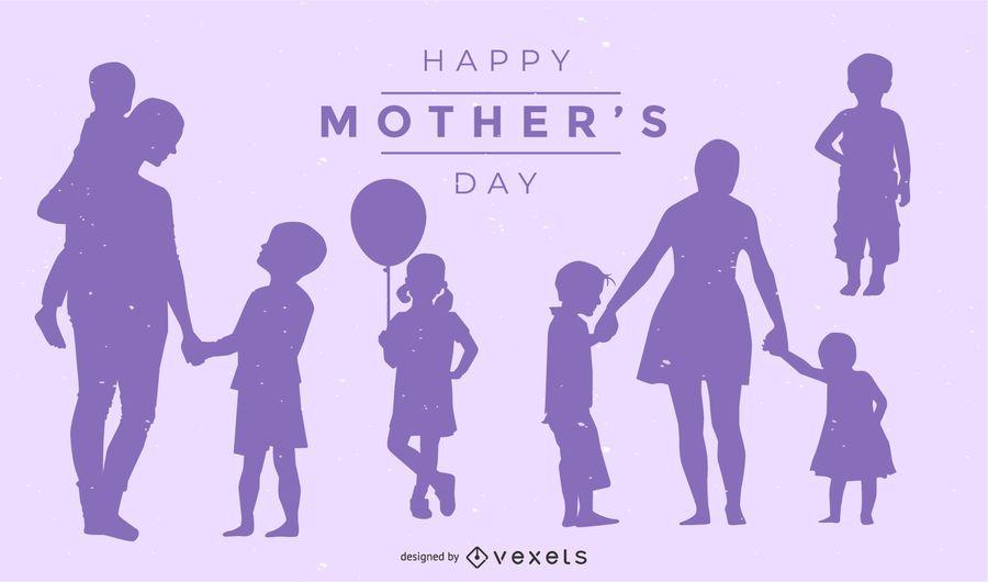 Design de silhueta de dia das mães