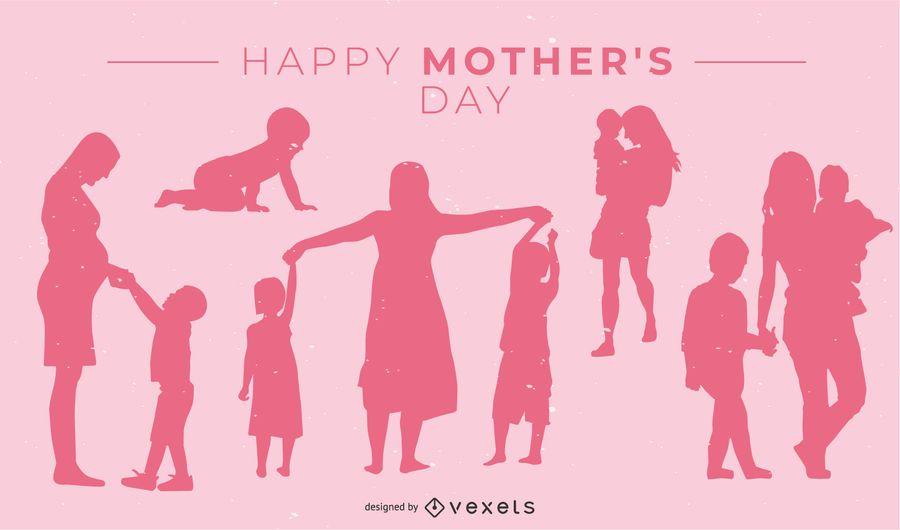 Diseño rosado de la silueta del día de madre