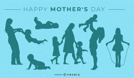 Diseño feliz de la silueta del día de mamá