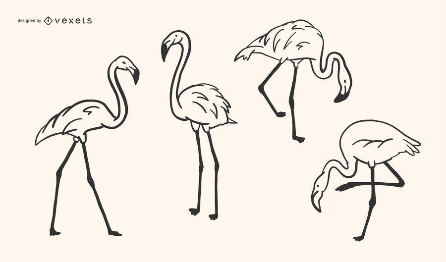 Flamingo-Gekritzel-Design