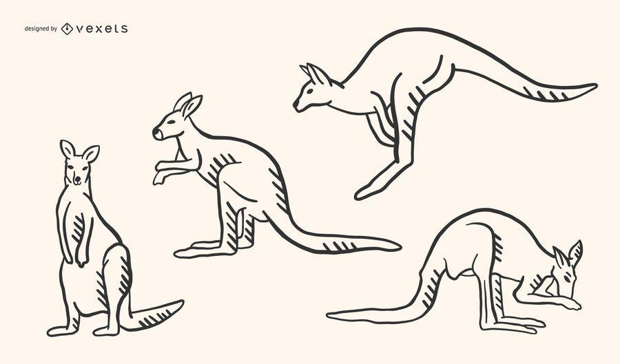 Desenho de Doodle de canguru
