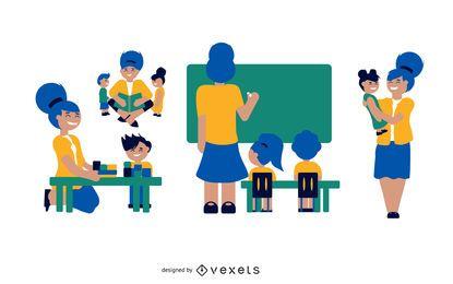Conjunto de ilustração de professor