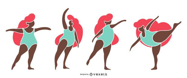 Conjunto De Siluetas De Bailarina De Ballet.