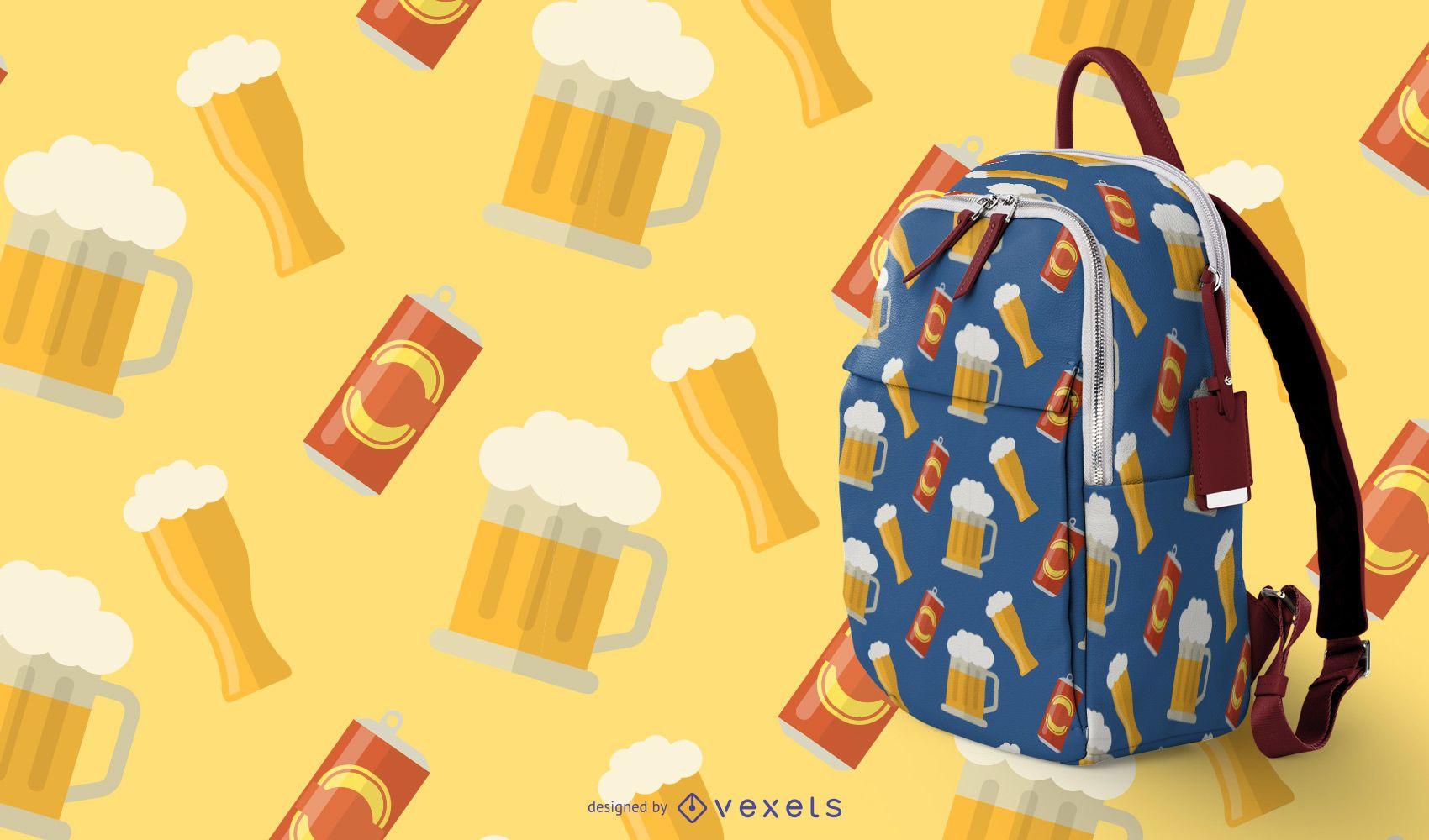 Padrão sem emenda de caneca de cerveja