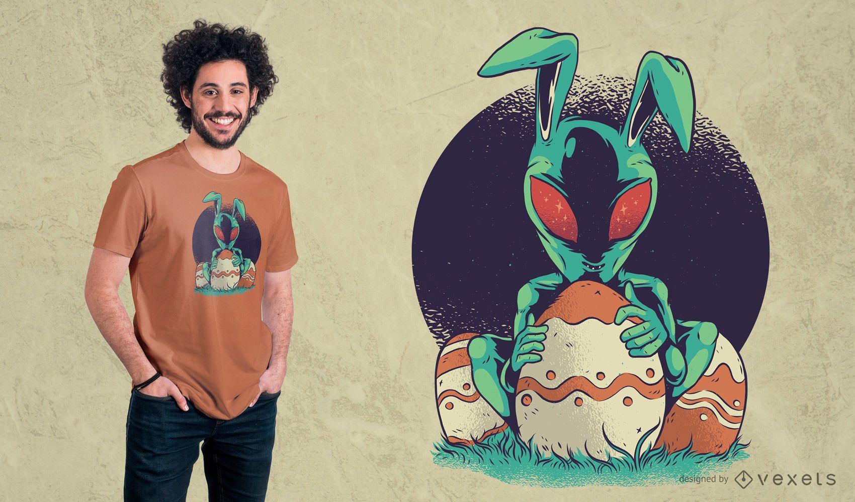 Diseño de camiseta de Alien de Pascua