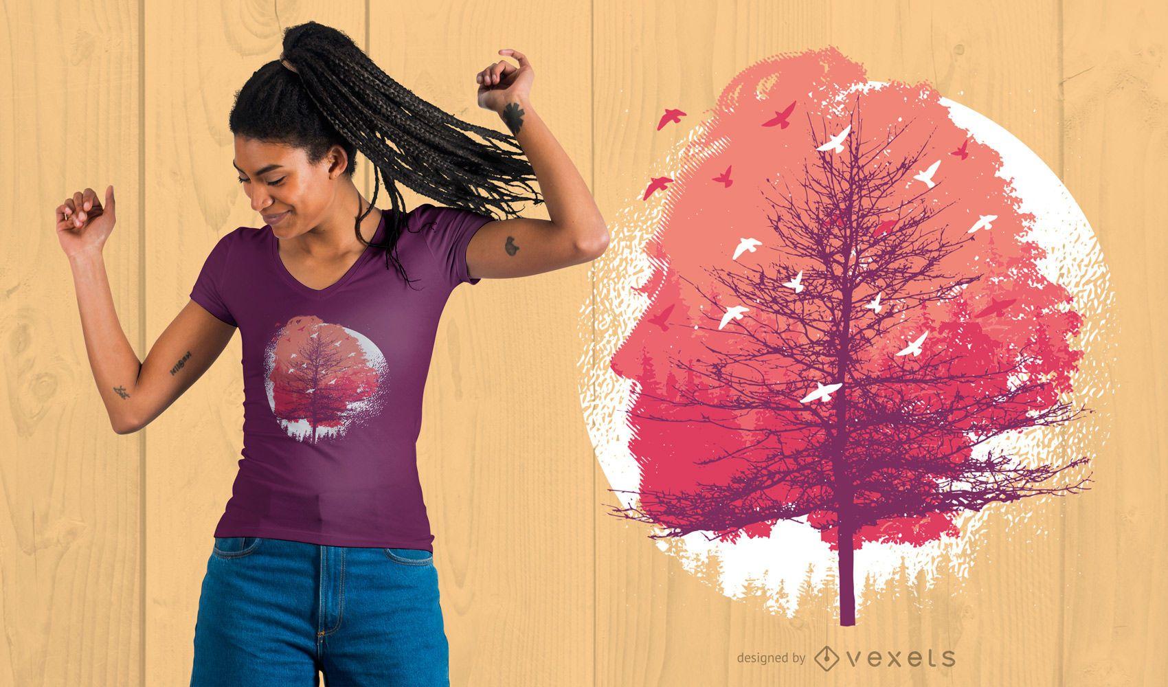 Head Tree T-Shirt Design