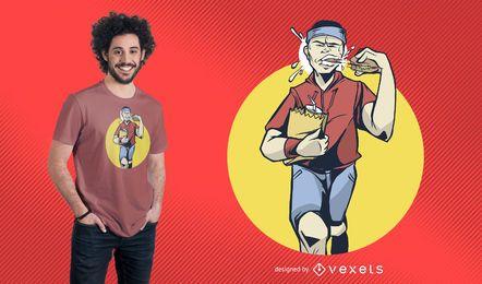Rüttler, der Burger-T-Shirt Design isst
