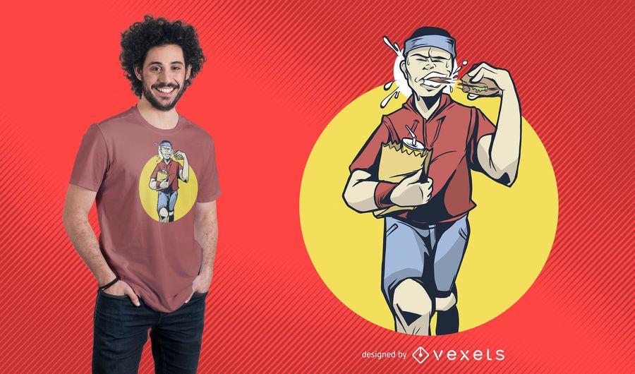 Jogger Eating Burger T-Shirt Design