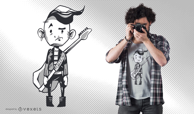 Personagem segurando design de camiseta com guitarra