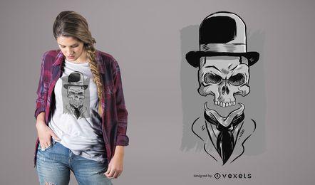 Diseño de camiseta de calavera con sombrero