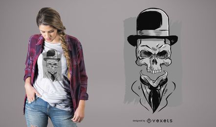 Skull Wearing Hat T-Shirt Design