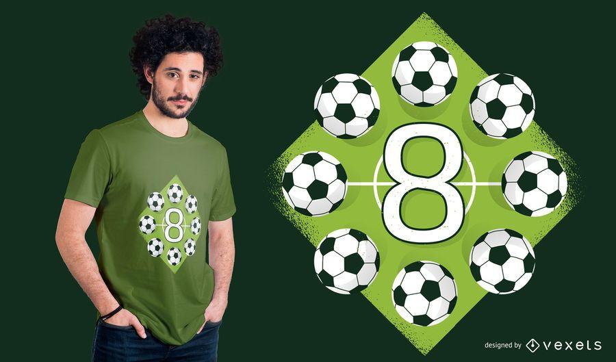 Diseño de camiseta de fútbol de octavo cumpleaños