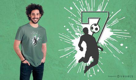 Fußball-7. Geburtstags-T-Shirt Design
