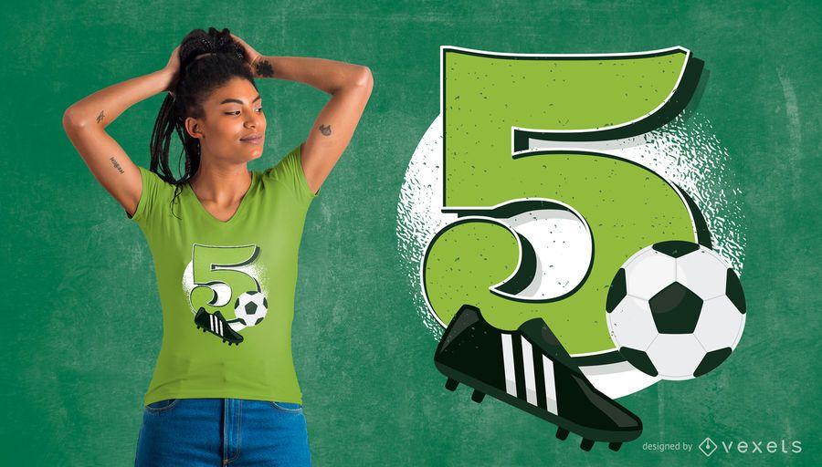 Fußball 5. Geburtstag T-Shirt Design