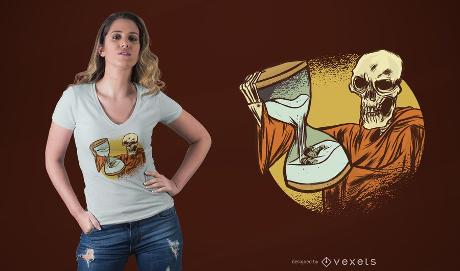 Death Holding Hourglass T-Shirt Design