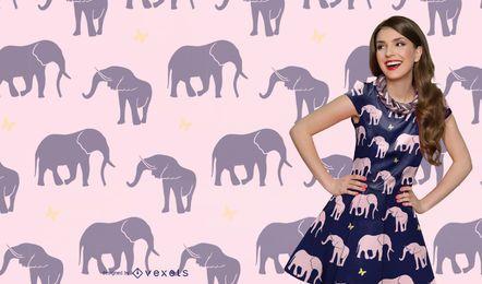 Nahtloses Elefanten-Silhouette-Muster