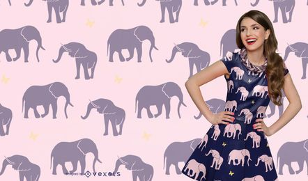 Seamless Elephant Silhouette Pattern