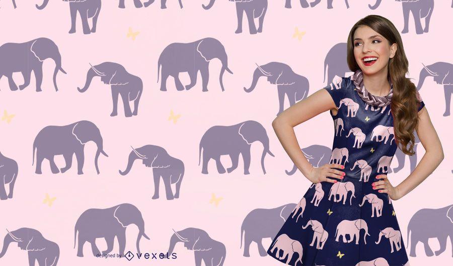 Patrón de silueta de elefante sin costura