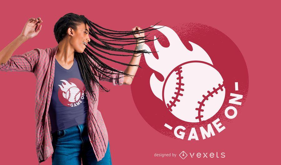 Juego de beisbol en diseño de camiseta