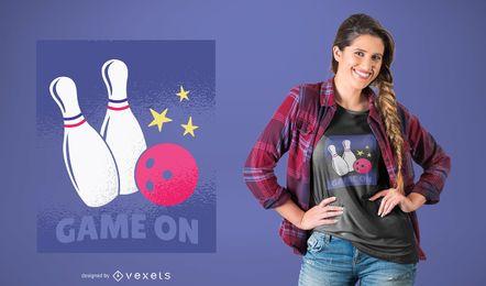 Bowlingspiel auf T-Shirt Design