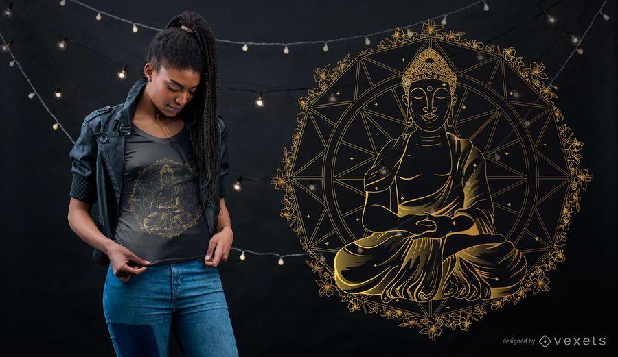 Diseño de camiseta de mandala de Buda