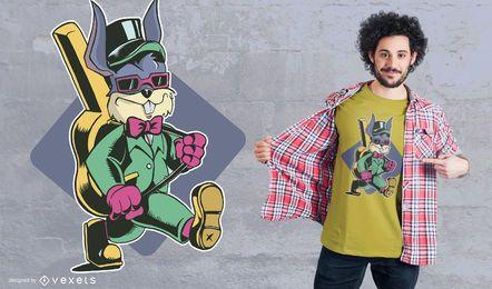 Diseño de camiseta de guitarra con conejo