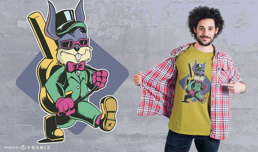 Conejo que lleva la camiseta de diseño de la guitarra