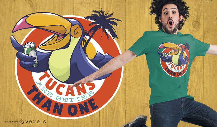Tucan Drinking Beer T-Shirt Design