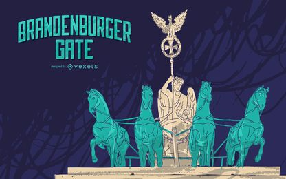 Design de ilustração do portão de Brandenburger