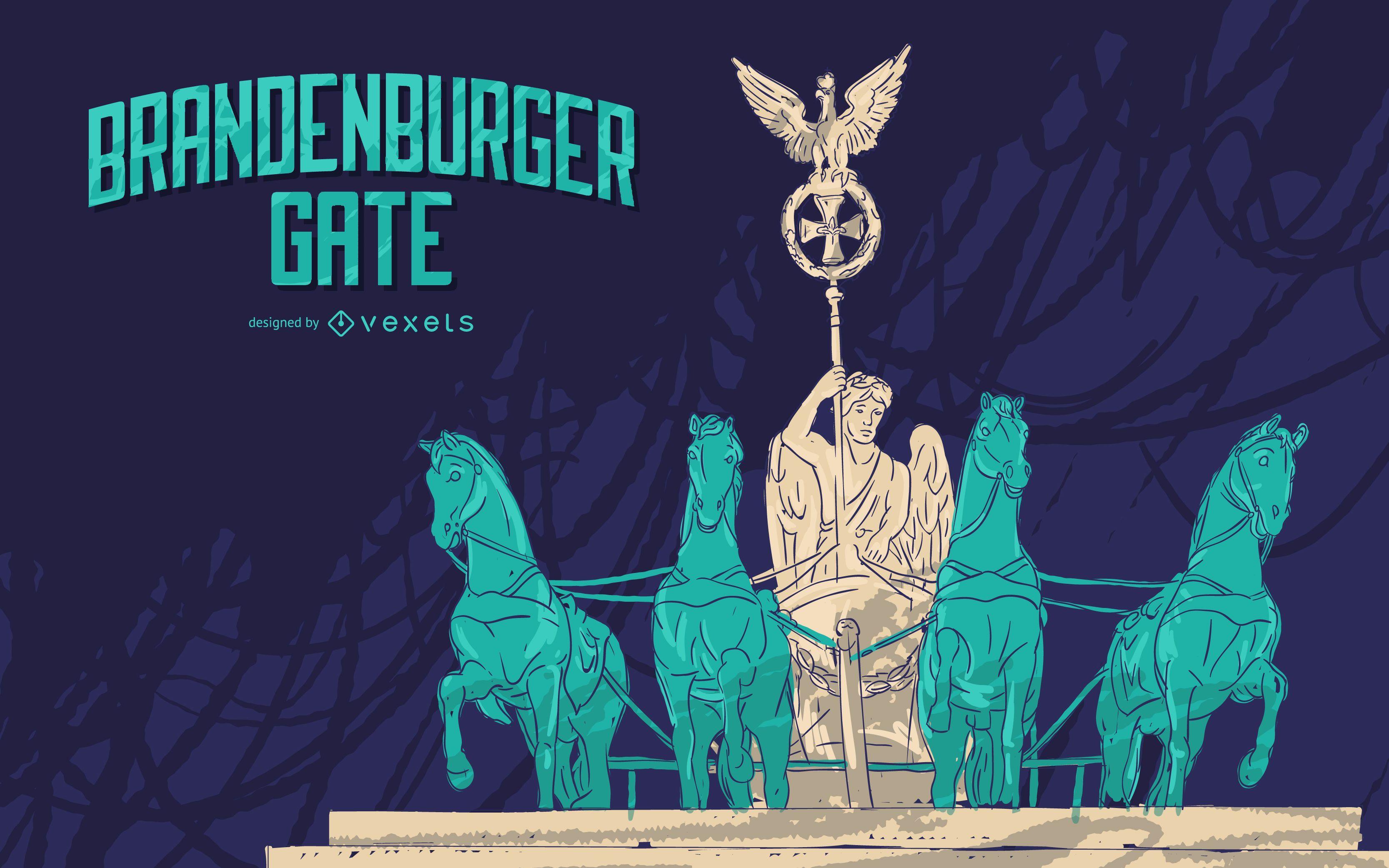 Diseño de ilustración de la puerta de Brandenburgo